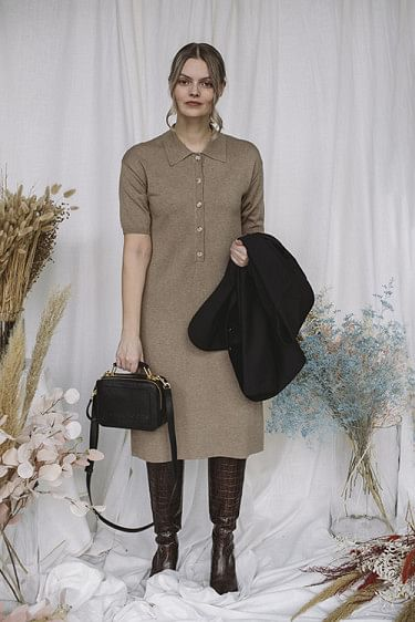 Chelsea Knit Dress Brown Melange