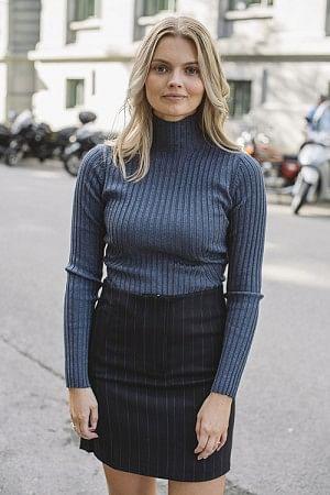 Karlina Knit Top Blue Melange
