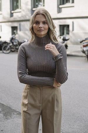 Karlina Knit Top Brown Melange