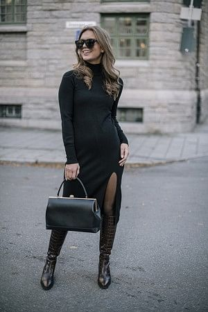 Quinn Knit Dress Black