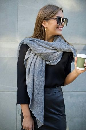 Luxury Scarf Medium Mid Grey Melange