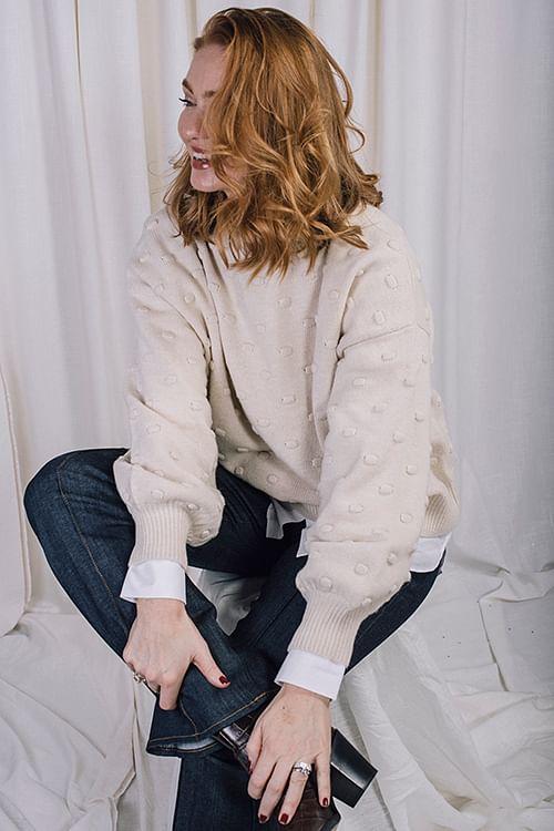 One&Other Bubble Sweater Ecru genser.