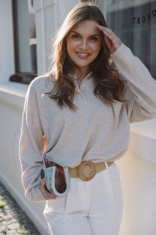 one&other cara sweater oatmeal melange beige genser