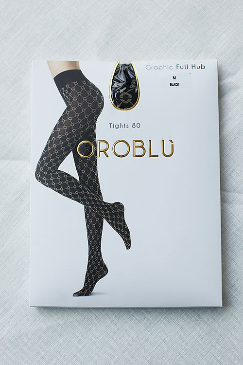 Oroblu Graphic Full Hub 80 Tights Black strømpebukser