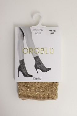 Kathy Openwork Socks Gold