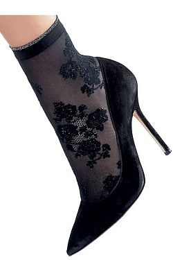 Stephany Floral Socks Black