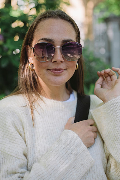 Quay Jezabell Rimless Gold/Purple solbriller