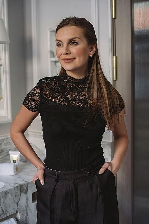 Rosemunde Balzac Silk T-Shirt Turtleneck Black topp