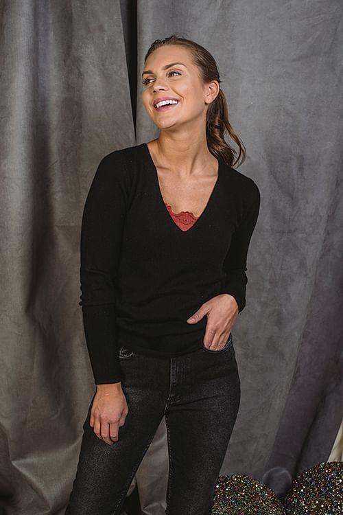 Rosemunde Pullover Ls Black genser