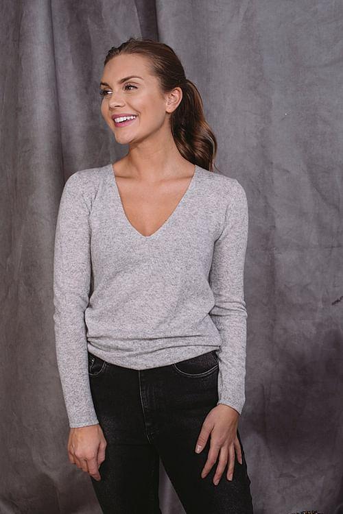 Rosemunde Pullover Ls Light Grey Melange genser strikk