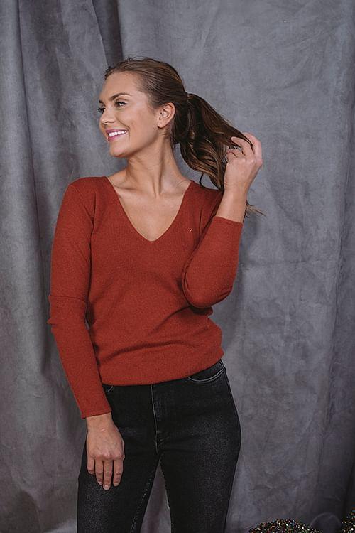Rosemunde Pullover Ls Burnt Red genser strikk