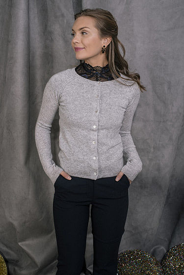 Cardigan Ls Light Grey Melange