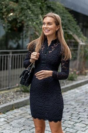 Lace Dress LS Black