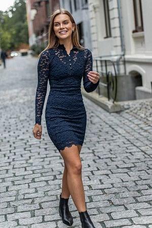 Lace Dress LS Dark Blue