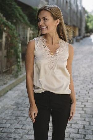 Silk Lace Top Whisper Beige