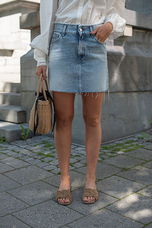Denim Skirt Light Blue