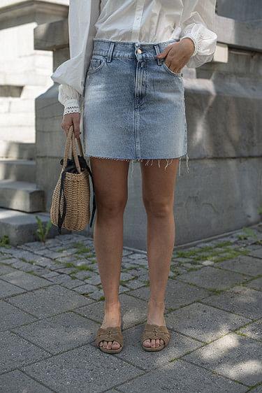 Denim Skirt Light Blue