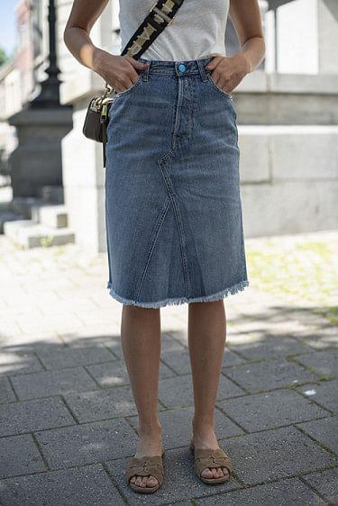 Denim Midi Skirt With Rhinestones