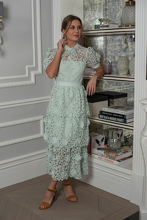self-portrait 3d floral lace midi dress mint grønn kjole