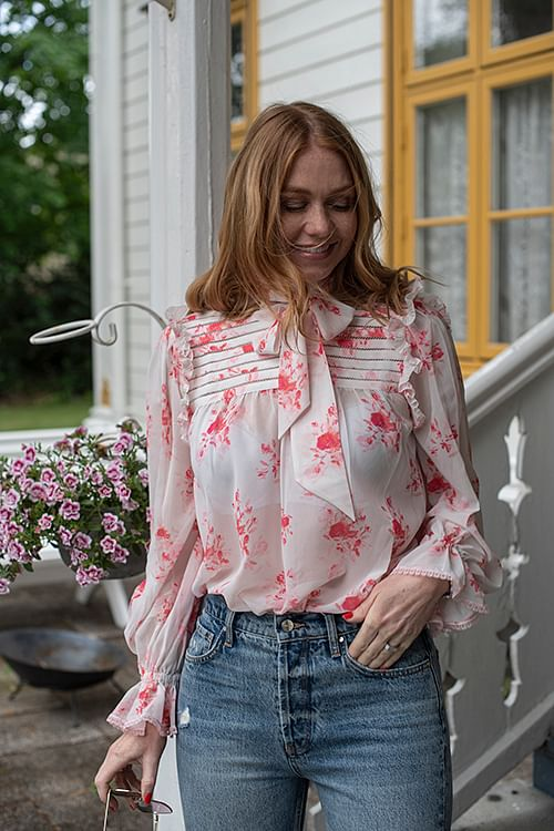 Self-Portrait Floral Printed Chiffon Pin Tucked Top Multi bluse
