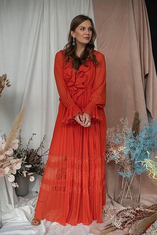 Orange Chiffon Maxi Dress