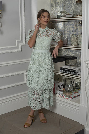 3D Floral Lace Midi Dress Mint