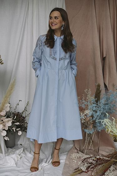 Lace Panel Midi Shirt Dress Light Blue