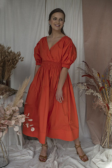 Orange Cotton Poplin Midi Dress