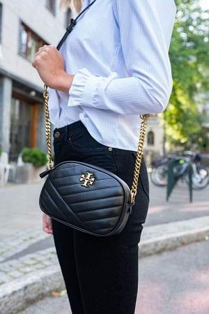 Kira Chevron Small Camera Bag Black
