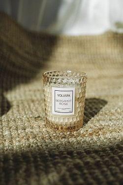 Textured Glass Candle 40t Bergamot Rose