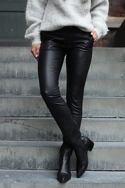 Leya Leather Pants Black