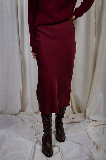 Bar Silk Skirt Burgundy