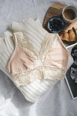 40's Lace Bra Nude