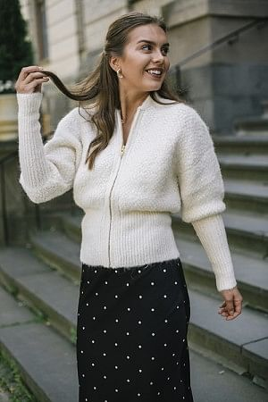 Fluffy Hairy Knit Cardigan Off-White