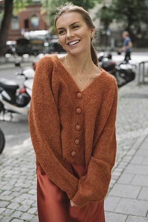 Hairy Knit Cardigan Rust