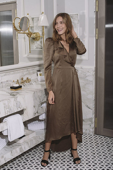 Lauren Long Wrap Dress Khaki