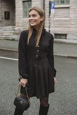 Winter Boho Mini Dress Black