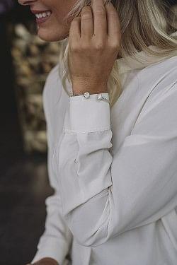 Classic Petite Bracelet Rhodium Crystal/White Opal