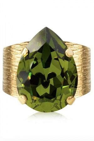 Classic Drop Ring Gold Olivine