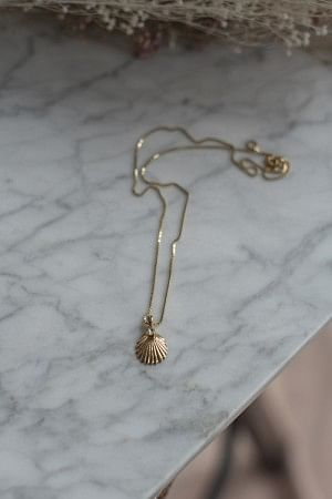 Shell Necklace Crystal Gold