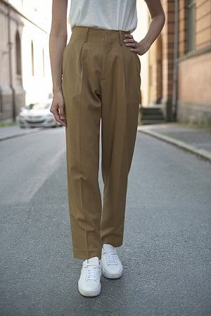 Front Pleat Pants Camel