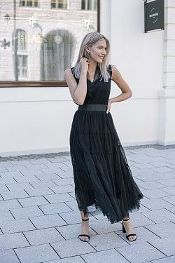 Tiered Tulle Dress Black