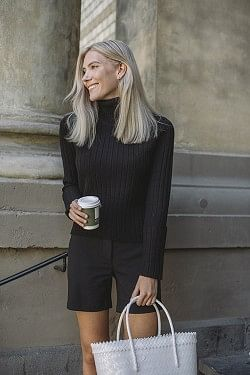 Wool Chunky Rib Turtleneck Black