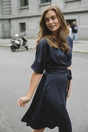 Osaka Wrap Dress Navy
