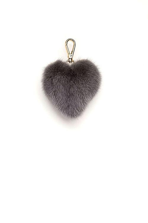 Dark Mink Heart Charm Grey