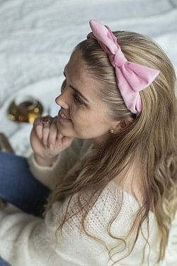 Velvet Hairband Bow Pale Pink