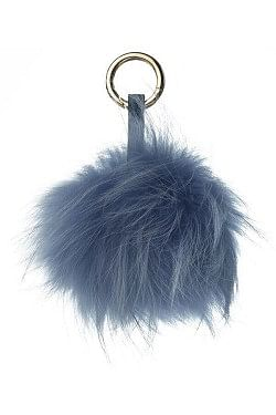 Raccoon Key Ring Pom Blue