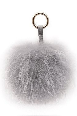 Raccoon Key Ring Pom Light Grey