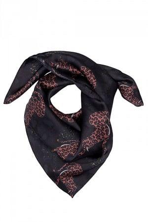 Silk Cheetah Scarf Mini Black