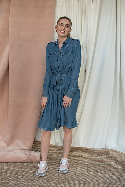 Designers Remix Camden Shirt Dress Medium Denim kjole